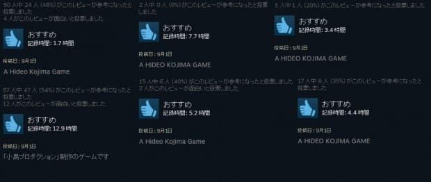 レビューが「A HIDEO KOJIMA GAME」で埋まる