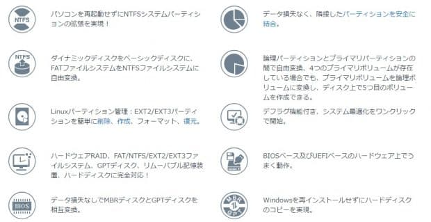 EaseUS Partition Master Free 11.0の主な機能