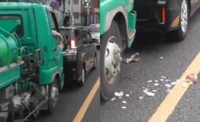東京都昭島市で三幸商事株式会社の運転手が危険物積載車で歩行者妨害・あおり運転・危険運転・ゴミポイ捨てとやりたい放題