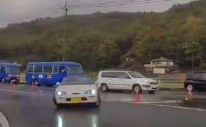 栃木県で前の車をあおり運転しまくった軽自動車がドリフト失敗してスピン後に逆走