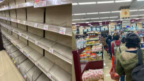 東京のスーパーが大混雑で都民がパニック状態に突入!水・食料品が買い占めで棚から消える