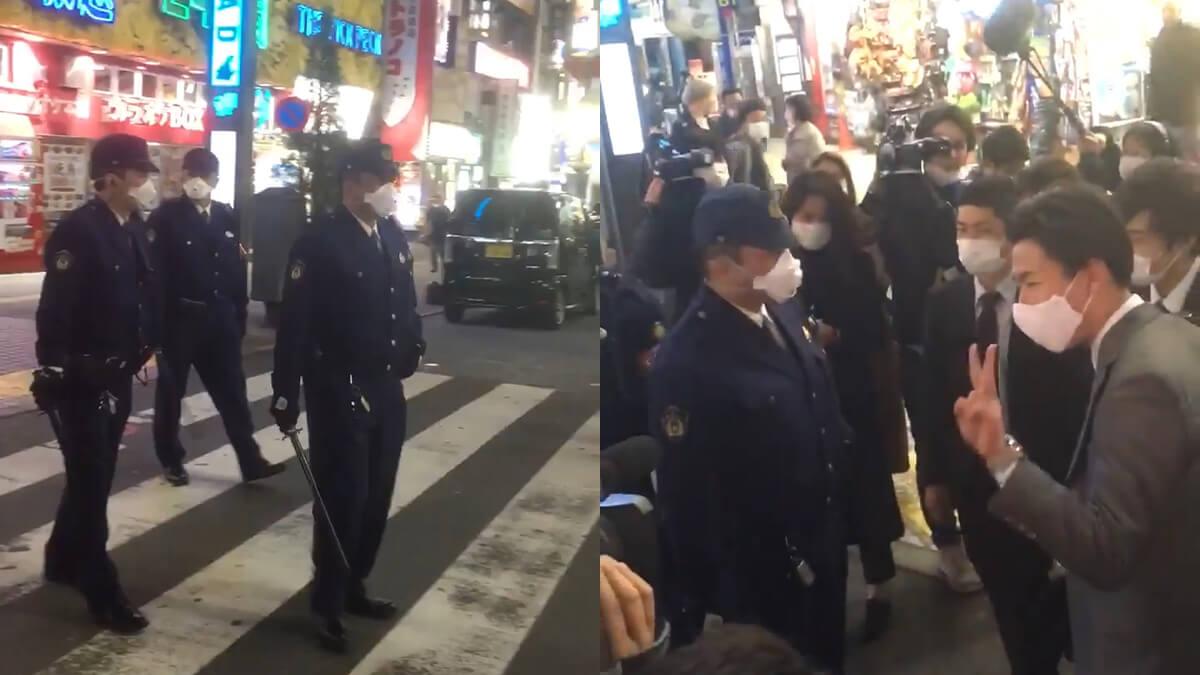 緊急事態宣言が出ても歌舞伎町で遊んでるヤバい奴らに警察が声かけ外出自粛呼びかけ!注意された男性「イェーイ!」