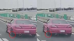 "<span class=""title"">愛知県・名二環で日産・S15 シルビアがスピンして大破する事故!継ぎ目のショックで足回り破損によりタイヤがズレてスリップか</span>"