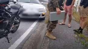 """<span class=""""title"""">沖縄で米軍Yナンバーの80スープラに追突されたバイク女子が事故処理や憲兵隊対応を公開!噂と違い丁寧な対応で当然全額補償</span>"""